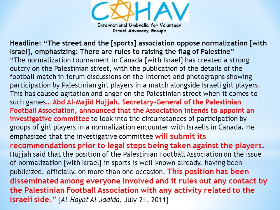 Headline: The street and the [sports] association oppose normalization [with Israel], emphasizing: There are rules to raising the flag of Palestine
